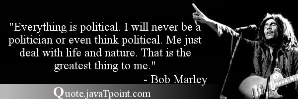 Everything Is Political I Will Never Be A Politician Or Even Think